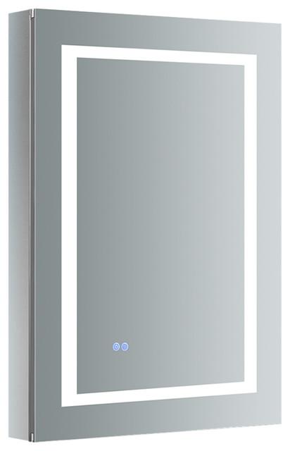 "Spazio 24""x36"" Bathroom Medicine Cabinet With Led Lighting And Defogger, Mirror."