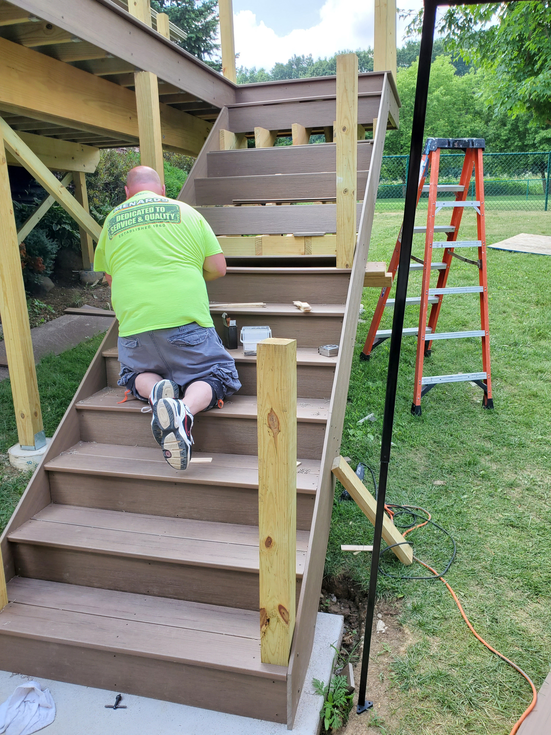 Composite deck stairs coming together