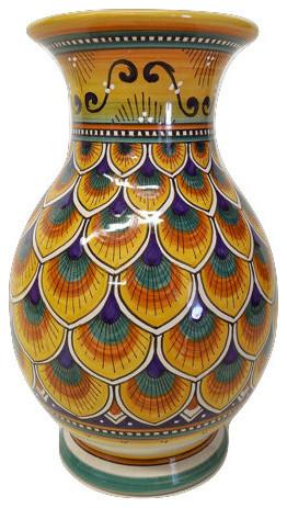 Deruta Ceramiche Sberna Penna di Pavone Orange Vase - Mediterranean ...