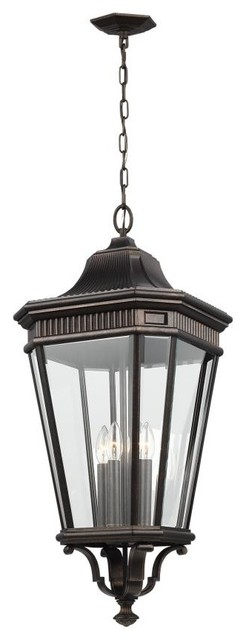 Feiss Ol5414gbz Cotswold Lane Outdoor Hanging Light, Grecian Bronze.