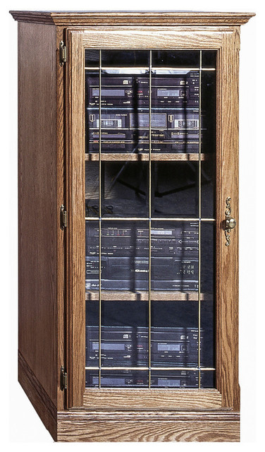 Traditional Oak Audio Tower With Glass Door Traditional