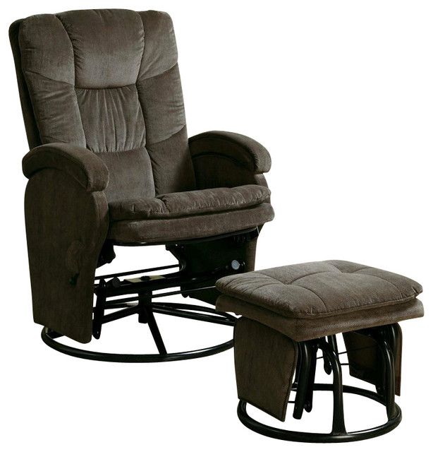 Coaster Recliners With Ottomans Reclining Glider In Chocolate Chenille  Contemporary Recliner Chairs