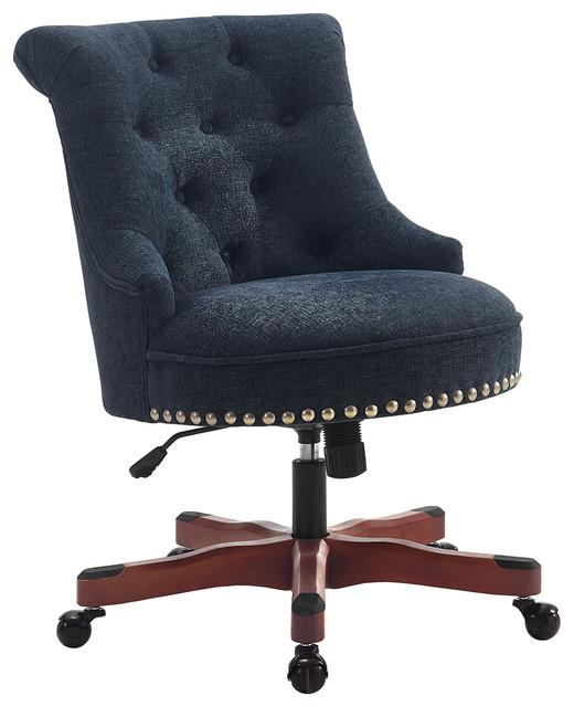 Sinclair Office Chair, Dark Walnut Wood Base