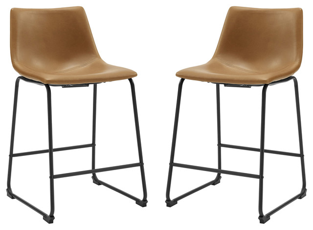 26 Faux Leather Counter Stool 2 Pack Whiskey Brown Industrial