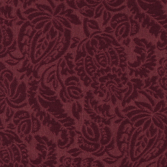 - Burgundy Large Scale Floral Woven Matelasse Upholstery