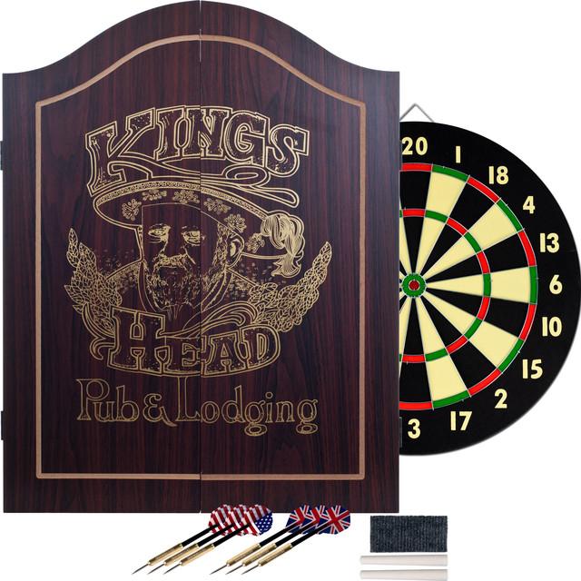 Kingu0027s Head Dartboard Set, Dark Wood