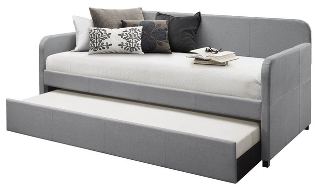 Home Design Tiara Upholstered Daybed With Trundle, Light Gray.