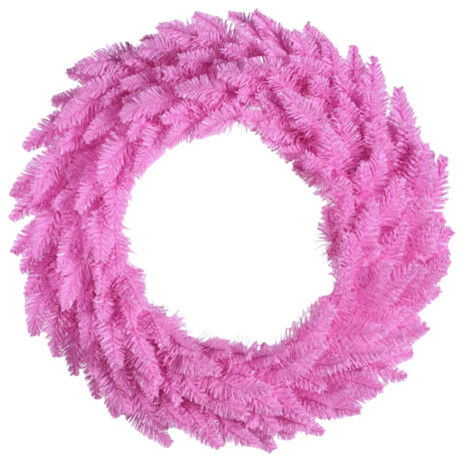 """48"""" Pre Lit Pink Ashley Spruce Christmas Wreath, Clear And Pink Lights by Northlight Seasonal"""