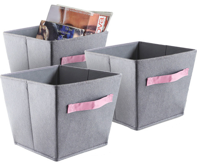 3 Pack Felt Storage Bins Gray and Pink Handles Contemporary