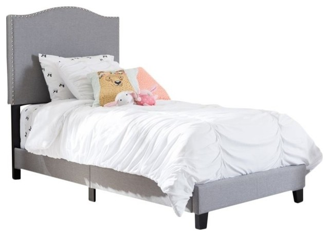 Benjamin Linen Upholstered Twin Size Arched Platform Bed With Nail Heads, Gray.