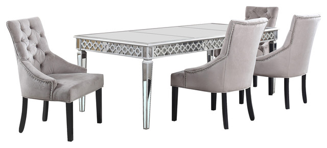 Sophie Silver Mirrored Dining Room Piece Set Transitional - Silver mirrored dining table