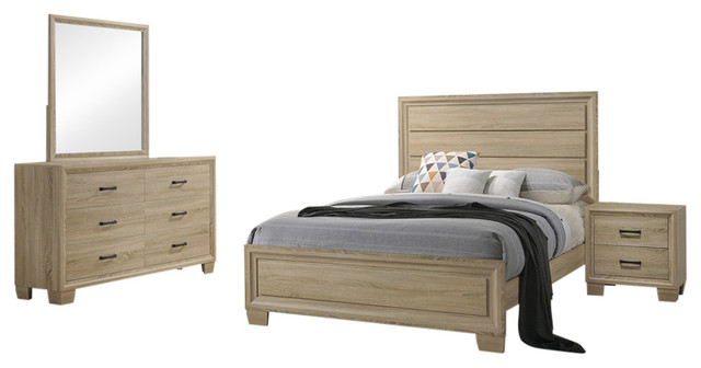 Coaster Vernon 4 Piece Queen Bedroom Set White Washed Oak Finish
