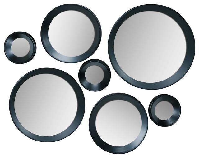 carla black round mirrors set of 7
