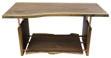 Natural Edge Walnut And Copper Pipe Coffee Table With Shelf