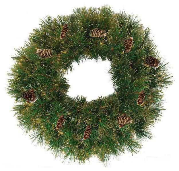 "24"" Yorkville Pine Wreath, 120 Tips, Unlit."