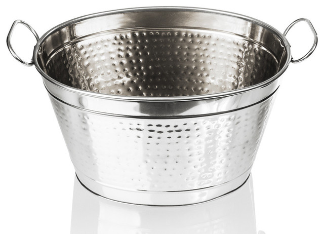 Stainless Steel Beverage Tub 20 Quot Hammered Large Ice Bucket