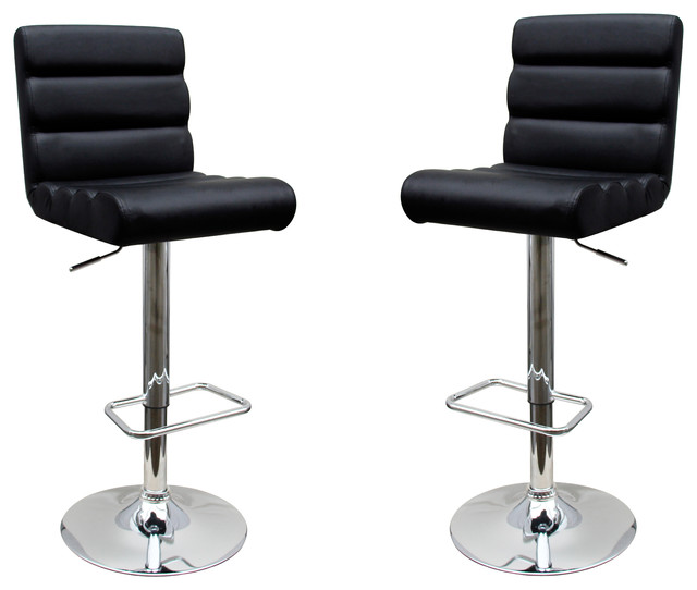 Cool Modern Adjustable Swivel Faux Leather Bar Stools Set Of 2 Black Machost Co Dining Chair Design Ideas Machostcouk