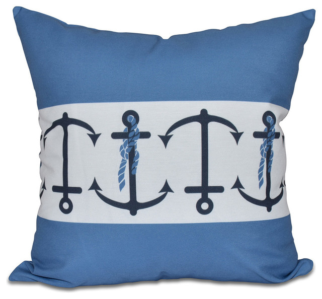 Beach Style Pillows : Anchor Stripe, Stripe Print Pillow - Beach Style - Decorative Pillows - by E by Design