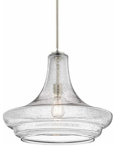 Kichler Everly 1 Light Indoor Pendant, Brushed Nickel With Clear Seedy Glass.