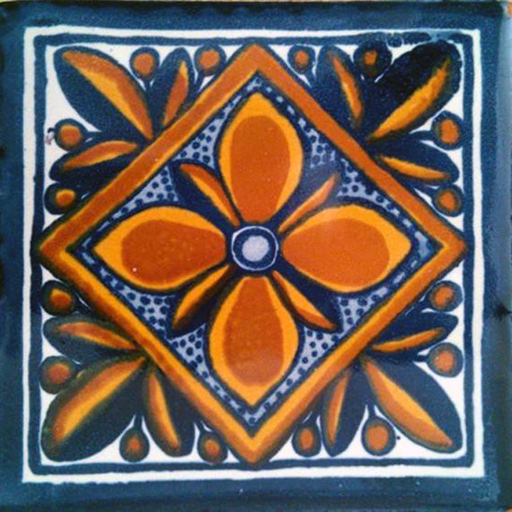 "4""x4"" Mexican Ceramic Handmade Tile C001."