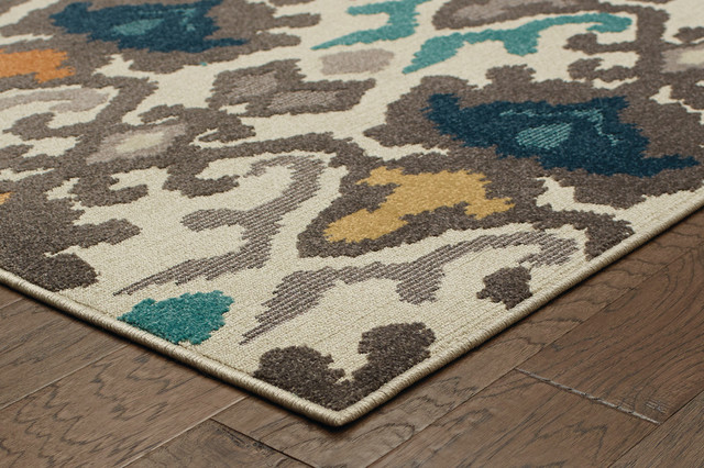 "Friary Indoor and Outdoor Floral Rug, Multicolored, 5'3""x7'6"""