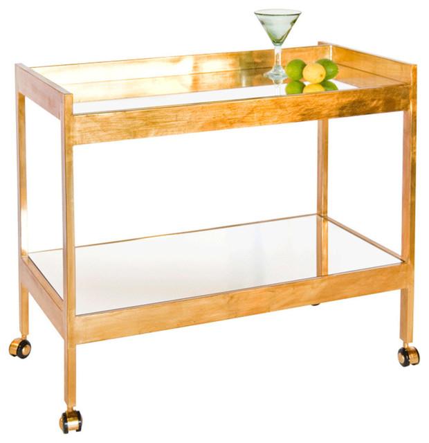 Worlds Away Bar Cart With Mirrored Shelf, Gold.