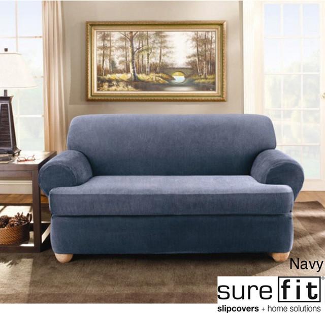 Sure Fit Stretch Stripe 2 Piece T Cushion Sofa Slipcover