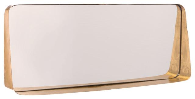 Zuo Decor Steel Mirror, Gold.
