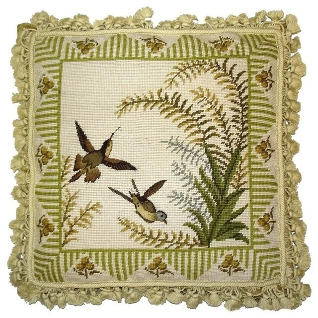 Hamming Birds And Ferns Needlepoint Pillow.