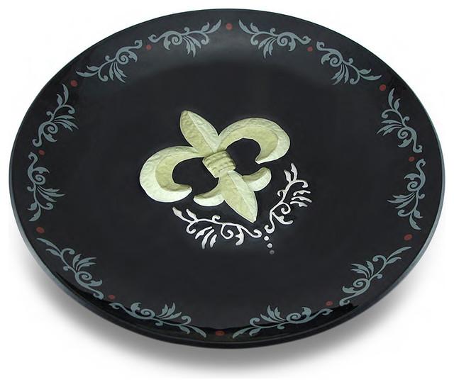 Black and gold fleur de lis decorative glass platter 13 traditional serving dishes and - Fleur de lis serving tray ...