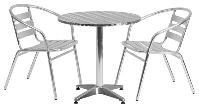 27.5'' Round Indoor-Outdoor Table With 2 Slat Back Chairs, Aluminum