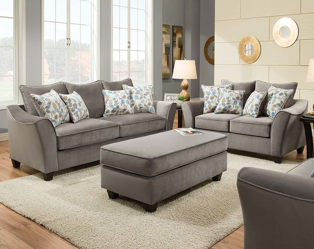 Bella Gray Sofa And Loveseat Traditional Living Room