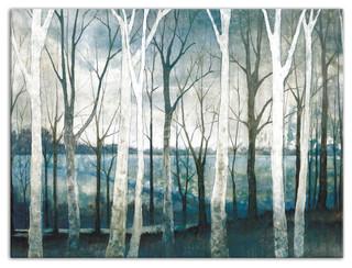 Birch Tree Marsh Canvas Wall Art Contemporary Prints