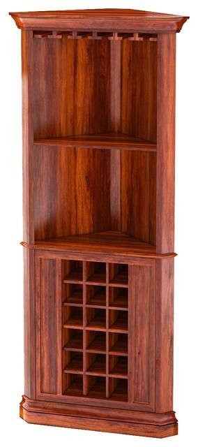 Louis 76 Rustic Solid Wood Corner Bar Cabinet
