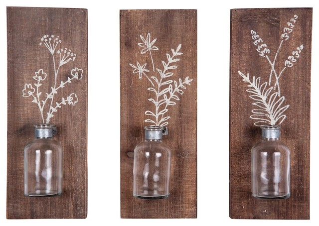 Foreside Fern Wall Vases, Set Of 3.
