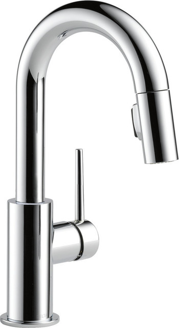 Delta Trinsic Single Handle Pull-Down Bar/Prep Faucet, Chrome, 9959-DST