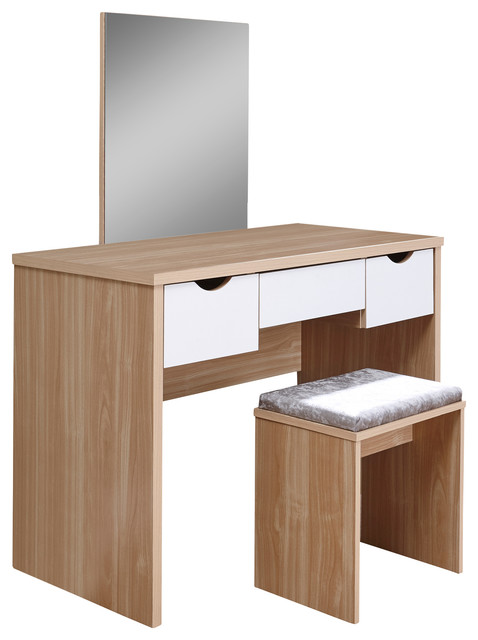 Elizabeth Dressing Table Set, Oak And White Contemporary Dressing Tables