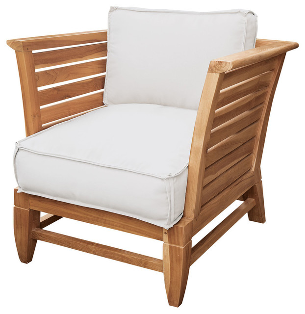 Swell Teak Slat Patio Chair In Euro Teak Oil With Set Of 2 Outdoor White Cushions Best Image Libraries Weasiibadanjobscom