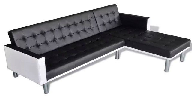 vidaXL L-shaped Sofa Bed Artificial Leather Black and White Lounge Couch  Seat