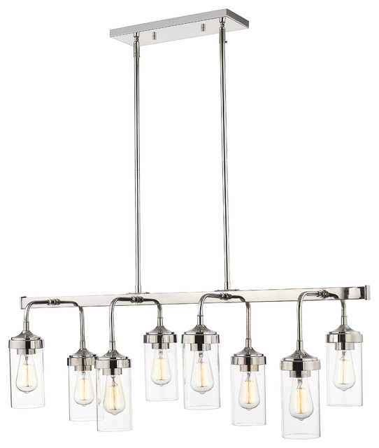 Calliope 8-Light Pendant Lighting Linear, Polished Nickel.