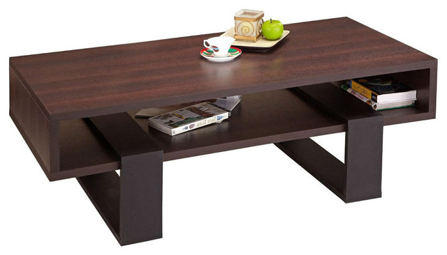 Modern Coffee Table Black And Walnut Brown Finish Coffee Tables By Hearts Attic