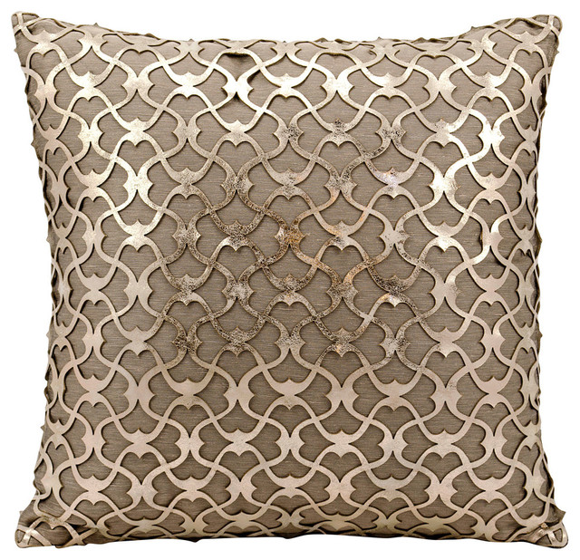 "Mina Victory Couture Hide Romantic Lasercut Pillow, Gold/ Beige 18""x18""."