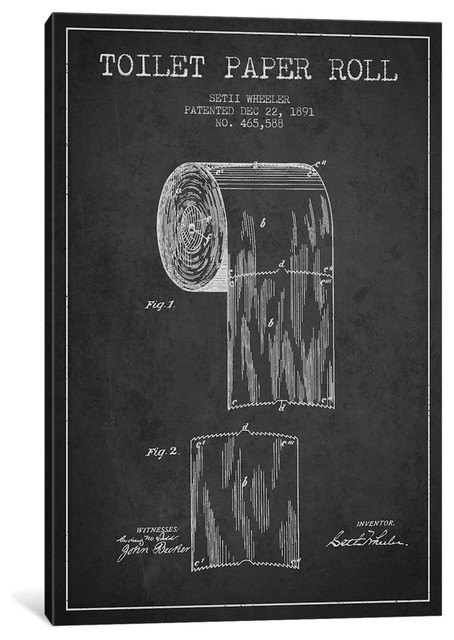 Toilet Paper Charcoal Patent Blueprint By Aged Pixel, 18x12x0.75.