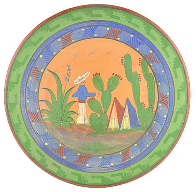 ... Decorative Accents · Decorative Plates. Consigned Vintage Mexican Pottery Charger  sc 1 st  Houzz & Consigned Vintage Mexican Pottery Charger - Rustic - Decorative ...