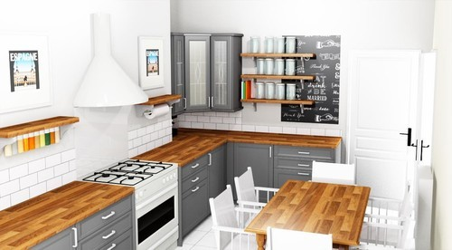 Kitchen lighting for kitchen without wall cabinets