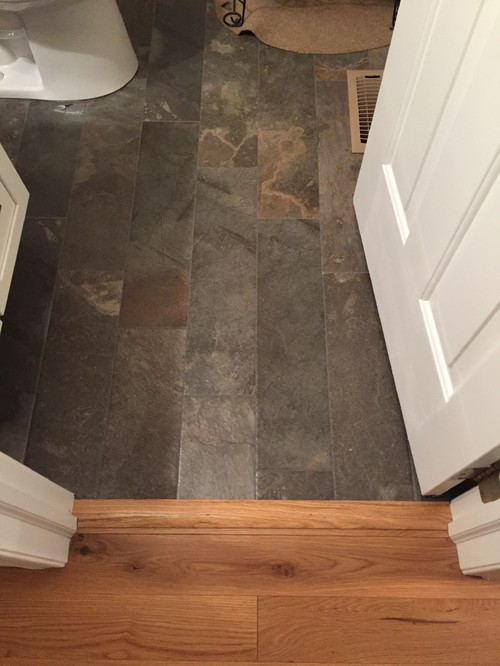 Please share kitchen flooring photos tile for Wood floor next to tile