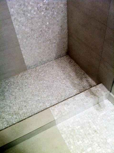 Captivating White Mother Of Pearl Mosaics In Residential Shower Room, New York  Contemporary Bathroom