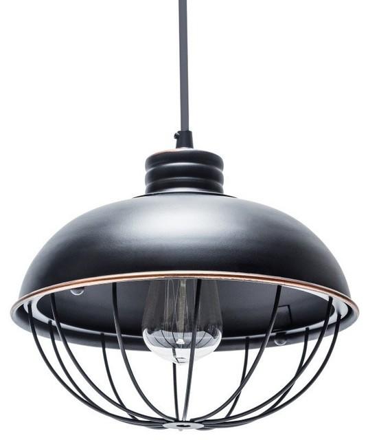 Lightingworld - Industrial Black Cage Pendant & Reviews | Houzz