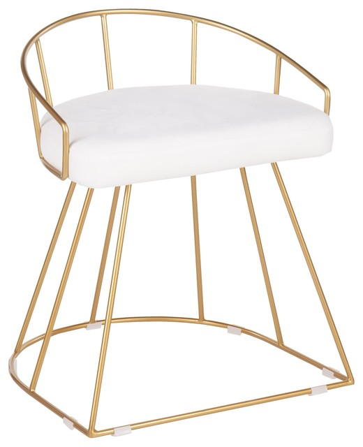 Canary Glam/Contemporary Vanity Stool, Gold Metal and White Velvet