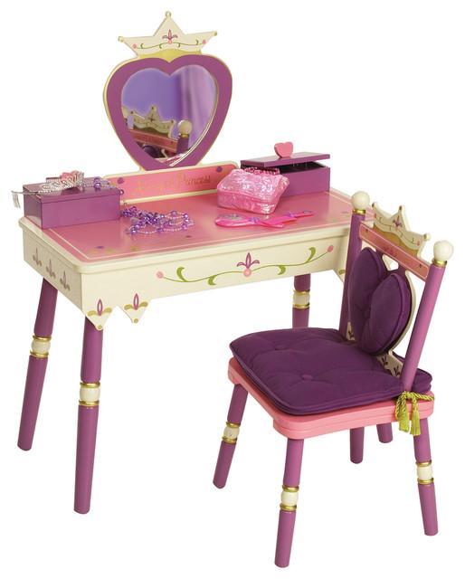 Kids Bedroom Vanity princess vanity table and chair set - transitional - kids bedroom